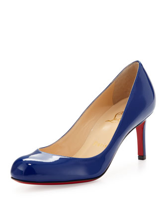 Simple Leather Red Sole Pump, Blue