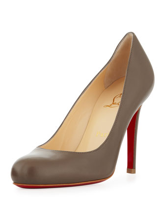 Simple Round-Toe Kidskin Red Sole Pump, Taupe