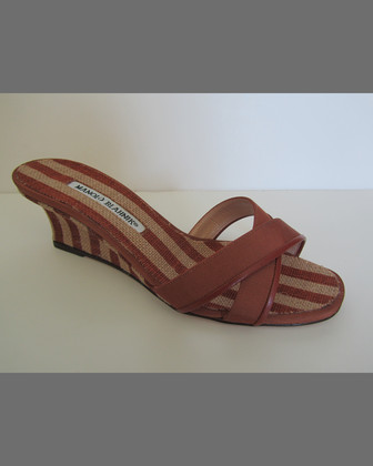 Sacha Striped Wedge Slide, Caramel