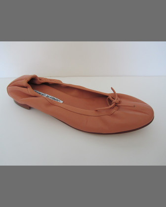 Tobaly Leather Ballerina Flat, Flesh