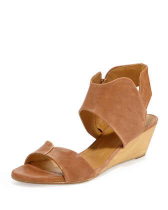Kinu Leather Ankle-Wrap Sandal, Natural