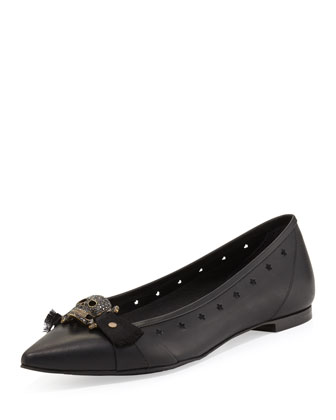 Alexandra Point-Toe Skull Ballerina Flat, Black