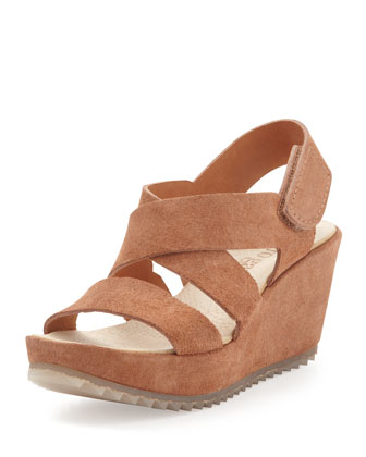 Fedra Platform Wedge, Tan