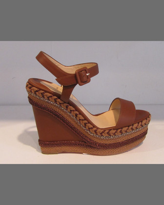 Braided Platform Wedge Sandal, Cognac