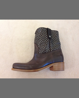 Studded Leather Western Boot, Caffe