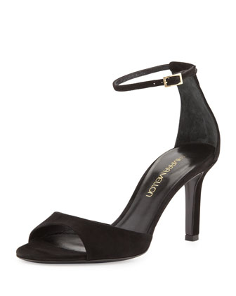 Suede Mid-Heel Ankle-Wrap Sandal
