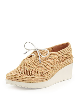 Vico Raffia Lace-Up Wedge