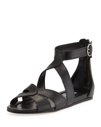 Leather Crisscross Ankle-Wrap Sandal, Nero