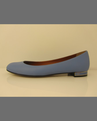 Logo-Heel Leather Ballerina Flat, Blue