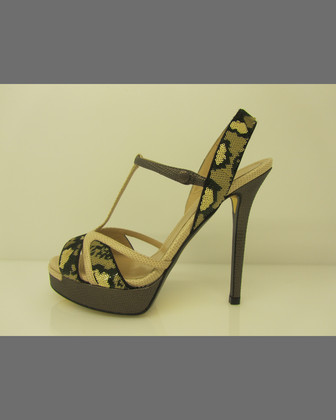 Sequined Snake-Embossed Platform Sandal