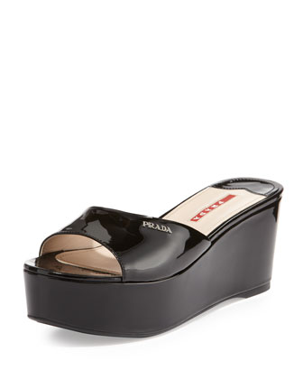 Patent Leather Wedge Slide, Nero