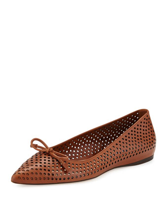 Perforated Leather Ballerina Flat, Cuoio