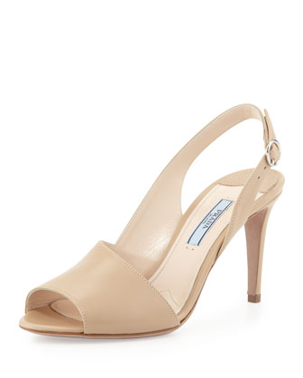 Asymmetric Leather Slingback Sandal, Sabbia