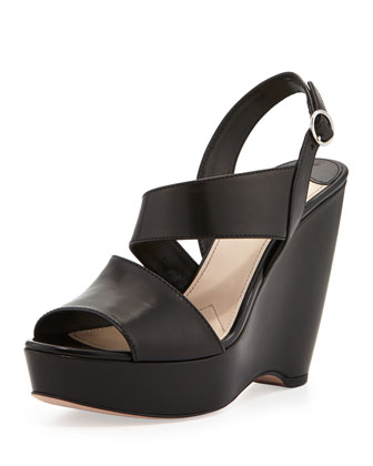 Asymmetric Slingback Wedge Sandal
