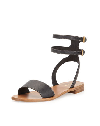 Saffiano Double-Buckle City Sandal, Black