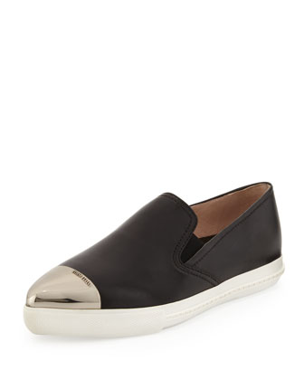 Metal-Cap-Toe Skater Shoe, Nero