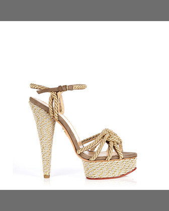 Tangled Rope Platform Sandal, Natural
