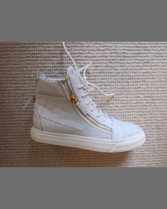 Alligator-Embossed Zipper High-Top Sneaker