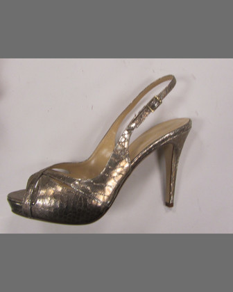 genna snake-print metallic slingback, gold