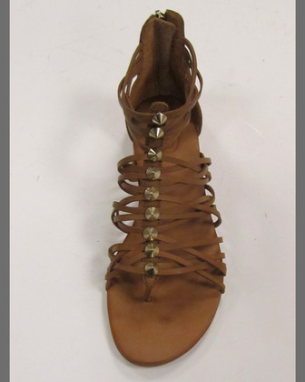 Mani Strappy Leather Sandal, Tan