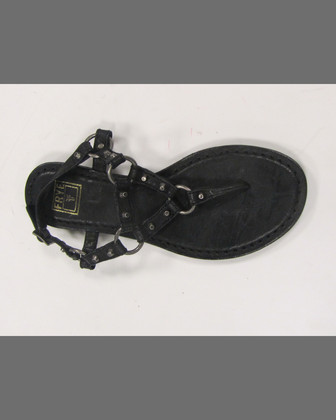 Carson Rivet Leather Thong Sandal, Black