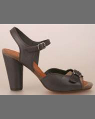 Japan Double-Buckle Leather Sandal, Gray