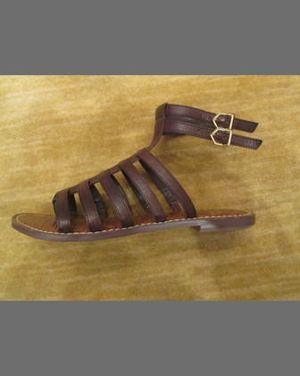Gilda Flat Leather Gladiator Sandal, Dark Chocolate