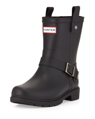 Shoreditch Motorcycle Short Welly Boot, Black