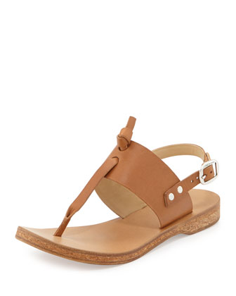 Quinn Leather Slingback Knot Sandal, Tan