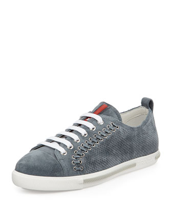 Lace-Up Suede Sneaker with Rivets