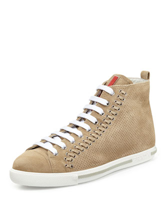 Grommet-Detailed Suede High-Top, Sabbia