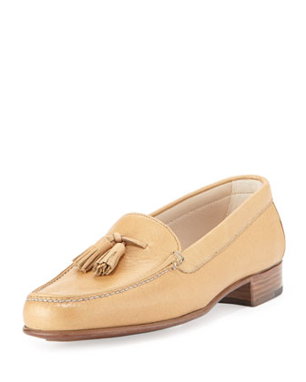 Leather Tassel Moccasin, Camel