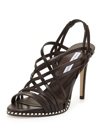 Sandy Strappy Leather Sandal, Brown