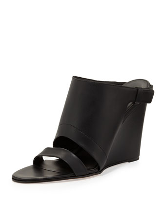 Kasia Leather Wedge Slide Sandal, Black