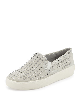 Braxton Silver-Studded Suede Slip-On, White