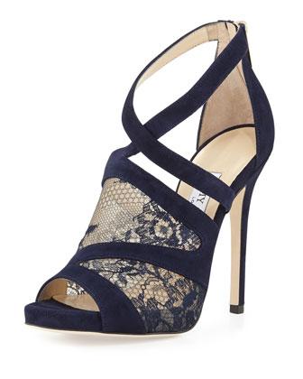 Vantage Suede Lace-Inset Glove Sandal, Navy
