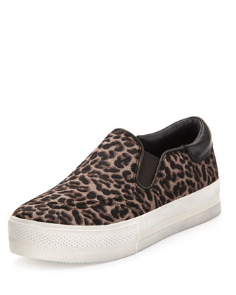 Leopard-Print Calf Hair Slip-On Sneaker, Black/Brown