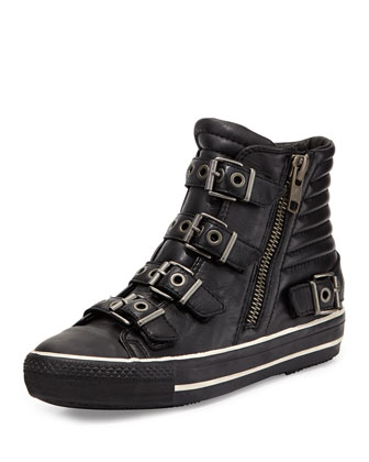 Vangeliz Leather High-Top Sneaker, Black