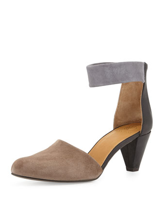 Sly Suede Ankle-Strap Pump, Dark Gray