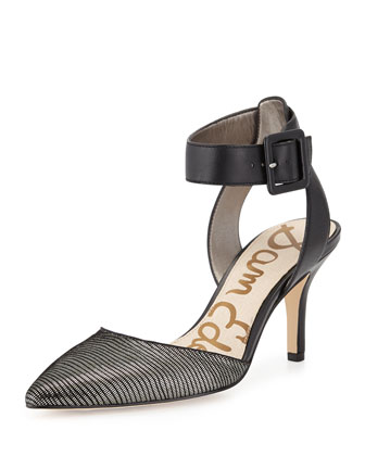 Okala Metallic Leather Ankle-Wrap Sandal, Silver