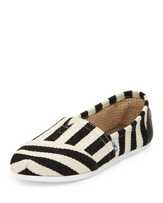 Striped Twill Canvas Slip-On, Black/White