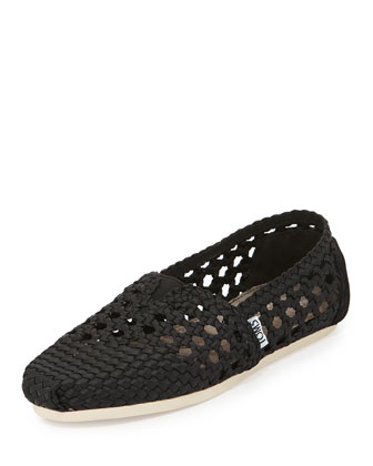 Braided Crochet Satin Slip-On, Black