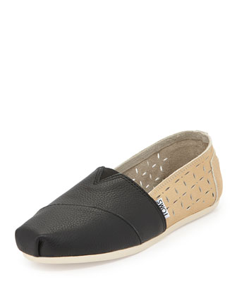 Laser-Cut Leather Slip-On, Black/Taupe