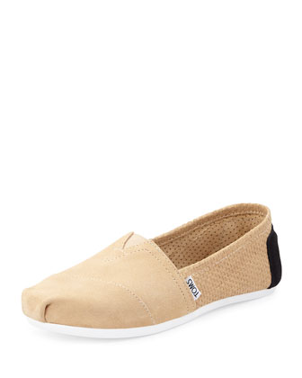 Basketweave Suede Slip-On, Black/Taupe