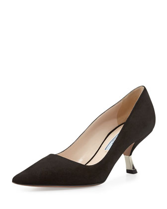 Suede Metal-Heel Pump, Nero