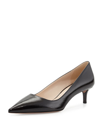 Saffiano Point-Toe Pump, Nero