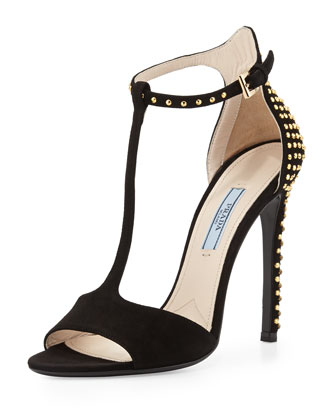 Studded T-Strap Suede Sandal, Nero
