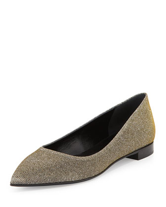 Metallic Point-Toe Flat, Silver