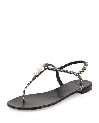 Nuvorock Spotted Flat Jewel Thong Sandal, Black/White