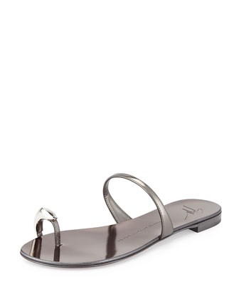 Nuvorock Metallic Leather Flat Toe-Ring Sandal, Silver